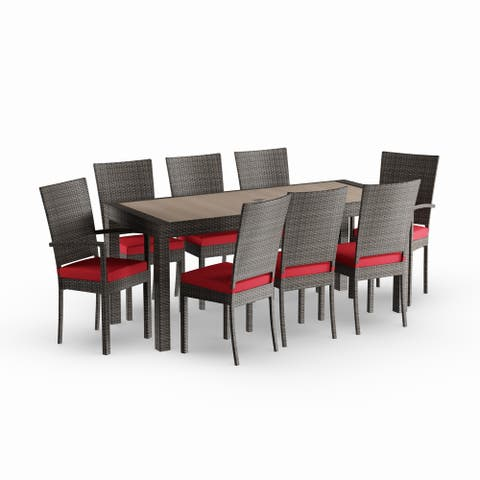 Gion 9-piece Red Outdoor Dining Set by Havenside Home