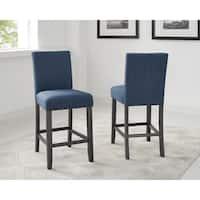 Strick & Bolton Gallaccio 26-inch Blue Fabric Stool (Set of 2)
