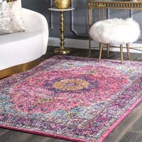 Maison Rouge Roya Traditional Vintage Pink Persian Round Rug - 6' Round
