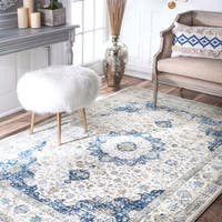Maison Rouge Oryan Traditional Faded Persian Vintage Blue Area Rug - 12' x 15'
