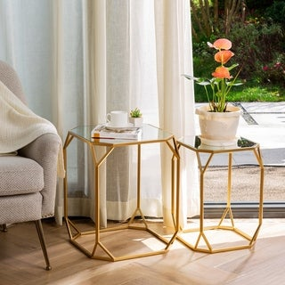 Glitzhome Metal W/Glass Gold Accent Table Set of 2