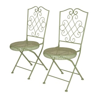 Glitzhome Metal Garden Patio Folding Chair Outdoor Chairs Set of 2 (2 options available)