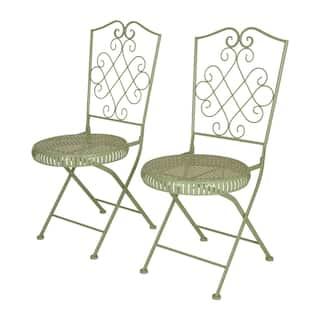 Metal Garden Furniture Set Green iron patio furniture outdoor seating dining for less glitzhome metal garden patio folding chair outdoor chairs set of 2 option green workwithnaturefo