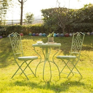 Glitzhome Metal Garden Patio Folding Chair Outdoor Chairs Set of 2