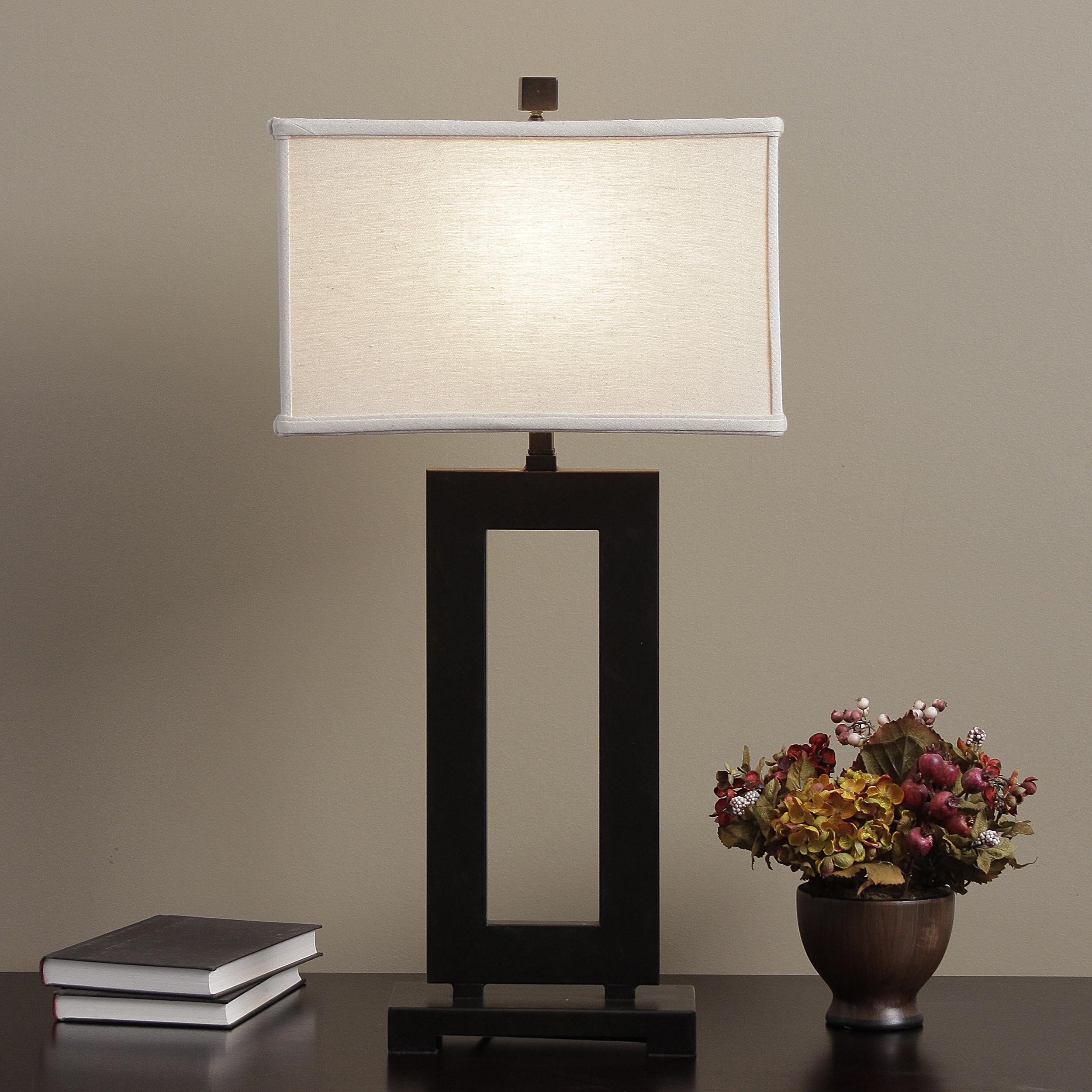 Nice I Love Living Mocha Metal Table Lamp With Cream Shade