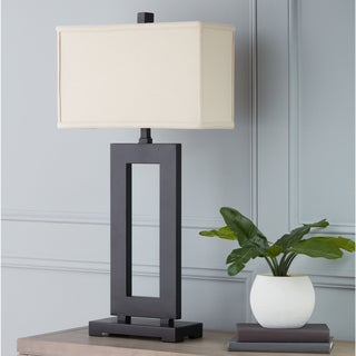 I Love Living Mocha Metal Table Lamp with Cream Shade