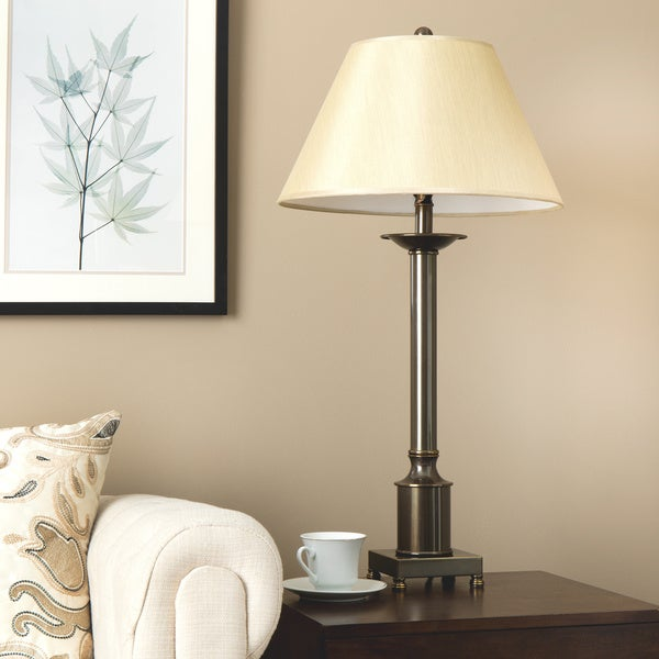 Copper Grove Antique Bronze Finished Metal Traditional Column Table Lamp