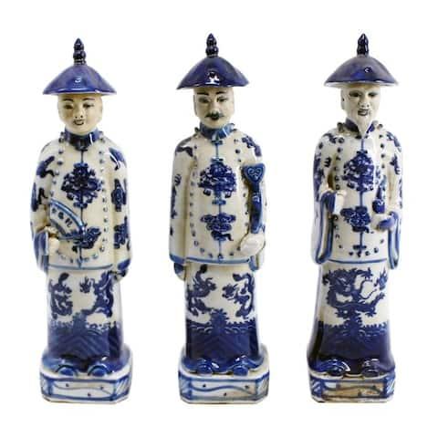 Handmade Standing Qing Emperors of 3 Generations Figurines, Set of 3