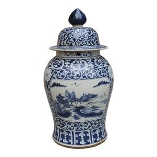 Handmade Dynasty Floral Landscape Medallion Temple Jar