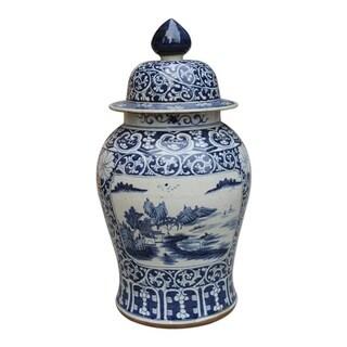 Dynasty Floral Landscape Medallion Temple Decorative Jar