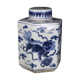 Handmade Lion Hexagonal Tea Jar