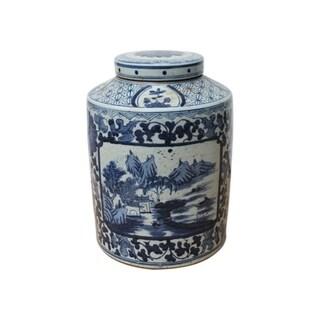 Handmade Dynasty Floral Landscape Medallion Tea Jar