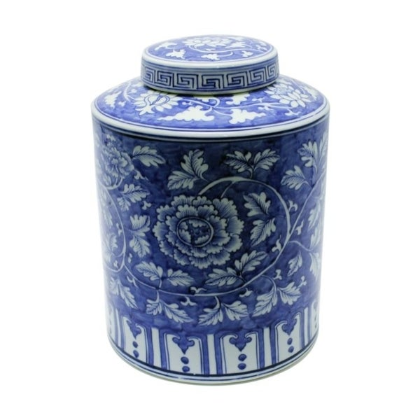 Handmade Peony Cylinder Tea Jar
