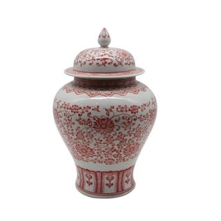 Glazed Twisted Lotus Temple Decorative Jar