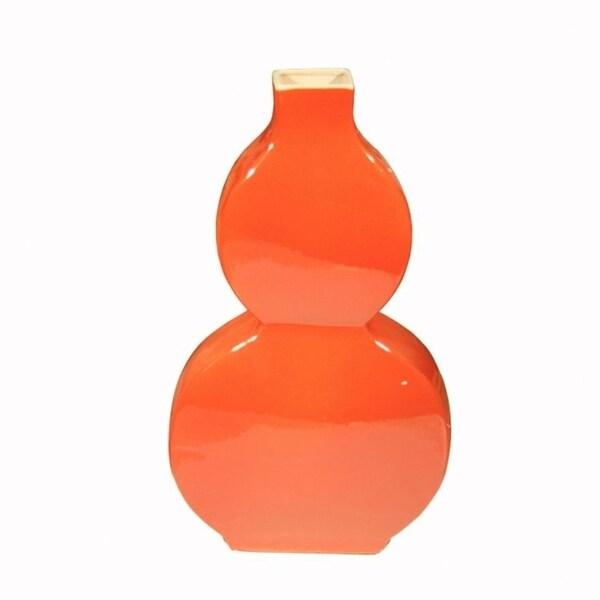 Flat Gourd Crackle Floor Vase