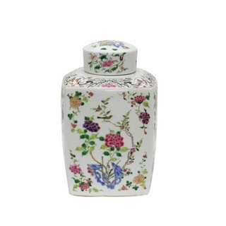 Handmade Chinoisery Floral Cylinder Tea Jar