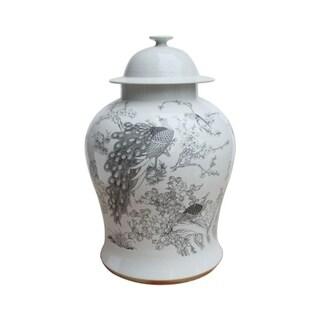 Handmade Peacock Motif Temple Jar