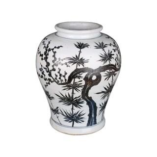 Handmade Bamboo Flaring Rim Dynasty Jar