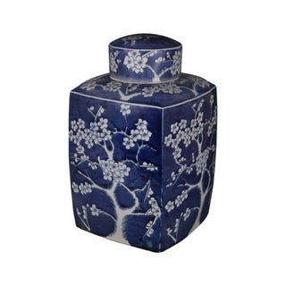 Handmade Plum Motif Square Tea Jar