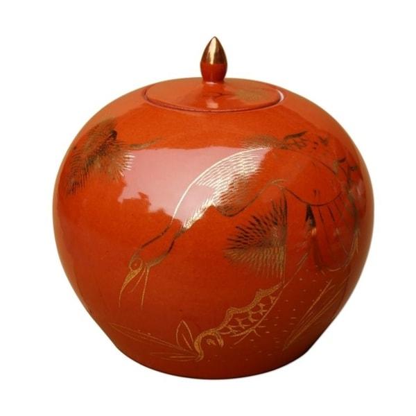 Handmade Gilt Pine and Crane Melon Jar