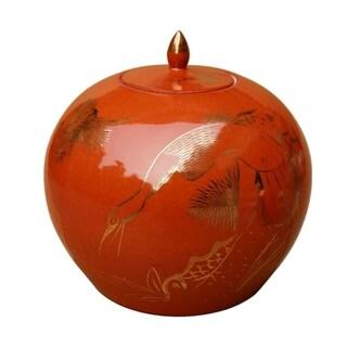 Melon Decorative Jar with Gilt Pine & Crane