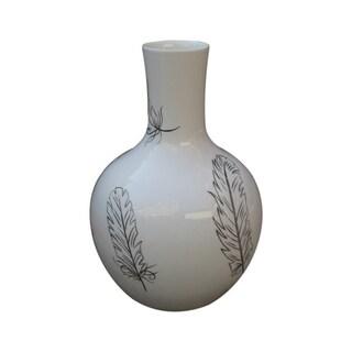 Handmade Globular Feather Vase