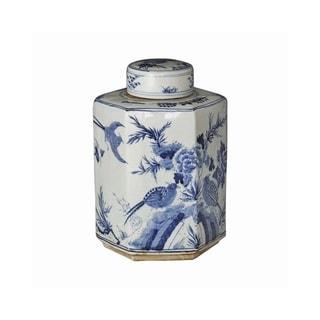 Handmade Flower Bird Hexagonal Tea Jar