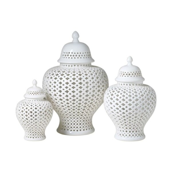 Lattice Ginger Decorative Jar with Lid- 19.5 inch