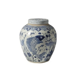 Handmade Ancestor Lidded Fish Motif Jar