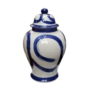 Handmade Brush Stroke Swirl Circle Temple Jar