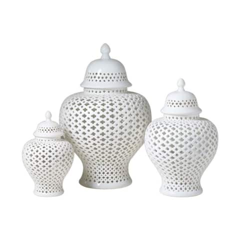 Handmade Medium Lattice Ginger Decorative Jar with Lid