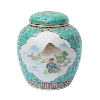 Handmade Madallion Lidded Landscape Storage Jar