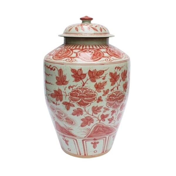 Handmade Underglaze Barn Bird Motif Jar