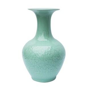 Handmade Carved Floral Pear Vase