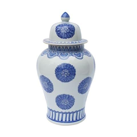 Multi Flowers Temple Decorative Jar
