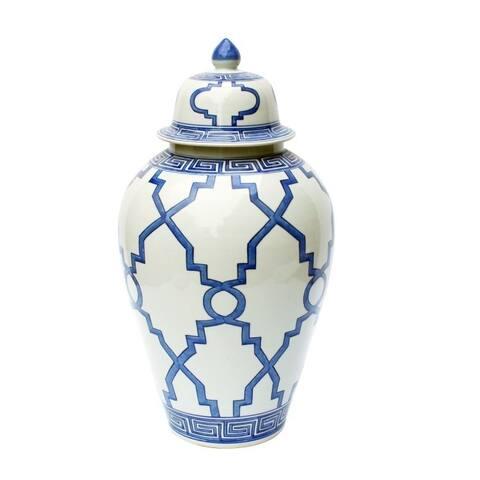 Handmade Greek Key Grids Heaven Decorative Jar