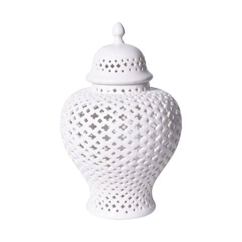 Handmade Lattice Ginger Decorative Jar with Lid