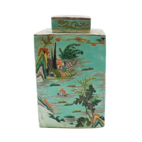 Handmade Square Tea Landscape Motif Jar