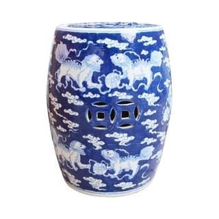 Handmade Porcelain Lion Motif Table or Stool
