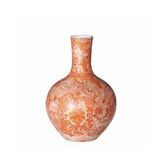 Globular with Dragon Motif Floor Vase