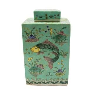 Handmade Square Tea Fish Motif Jar