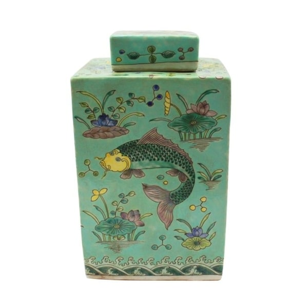 Handmade Square Tea Fish Motif Jar