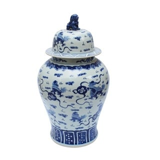 Extra Large Playing Foo Dog Temple Lion Lid Decorative Jar