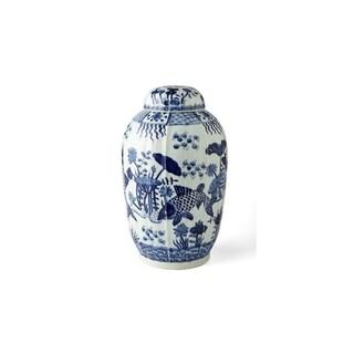 Handmade Fluted Fish Motif Tea Jar