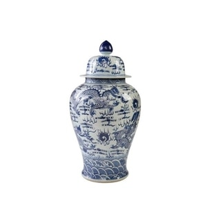 Handmade Sea Dragon Motif Large Temple Jar