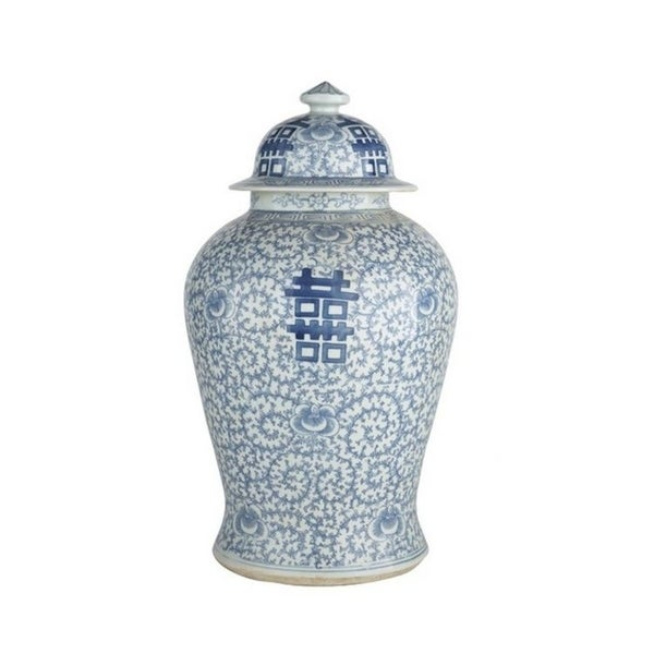 Handmade Double Happiness Floral Temple Decorative Jar