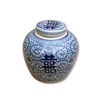 Double Happiness Floral Lidded Decorative Jar