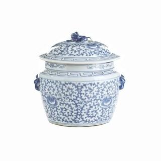 Handmade Lidded Rice Floral Motif Jar