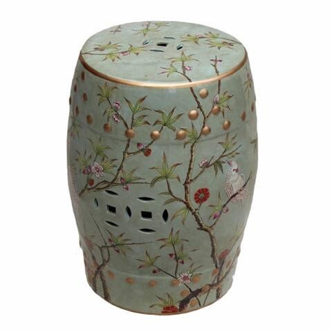 Handmade Famille Porcelain Stool