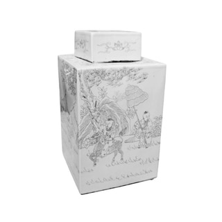 Handmade Square Carving People Tea Jar